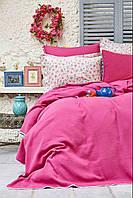 Набор постельное белье с жаккардовым покрывалом пике Karaca Home Picata fusya 2018-2 фуксия pike евро размера