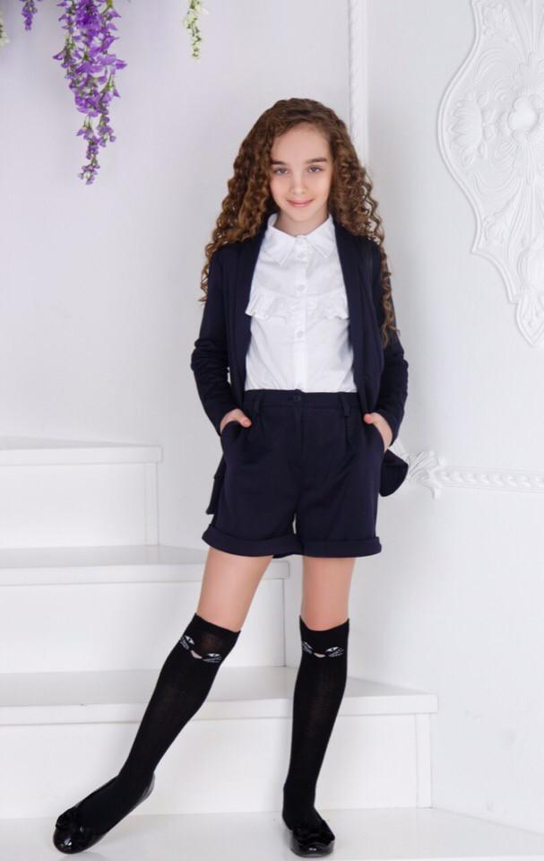 Школьный костюм шорты+пиджак школьная форма для девочки рост:134,140,146,152 см