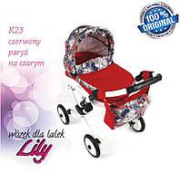 Кукольная коляска LILY TM Adbor с сумкой в комплекте (красный, ералаш на сером)