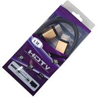 "Шнур HDMI (штекер-штекер), v.2.0, ""позолоченный"", диам.-7,3мм, сетка, в коробке, 1м, Tcom"