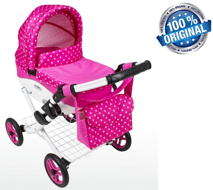 Кукольная коляска LILY TM Adbor с сумкой в комплекте (К09, розовый, горошек на розовом)