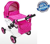 Кукольная коляска LILY TM Adbor с сумкой в комплекте (К09, розовый, горошек на розовом), фото 1