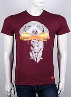 Футболка мужская с принтом S XL  HOT DOG Украина. Хлопок 92% Бордо