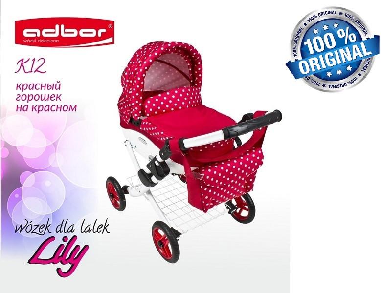 Кукольная коляска LILY TM Adbor с сумкой в комплекте (К12, красный, горошек на красном)