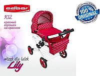 Кукольная коляска LILY TM Adbor с сумкой в комплекте (К12, красный, горошек на красном), фото 1