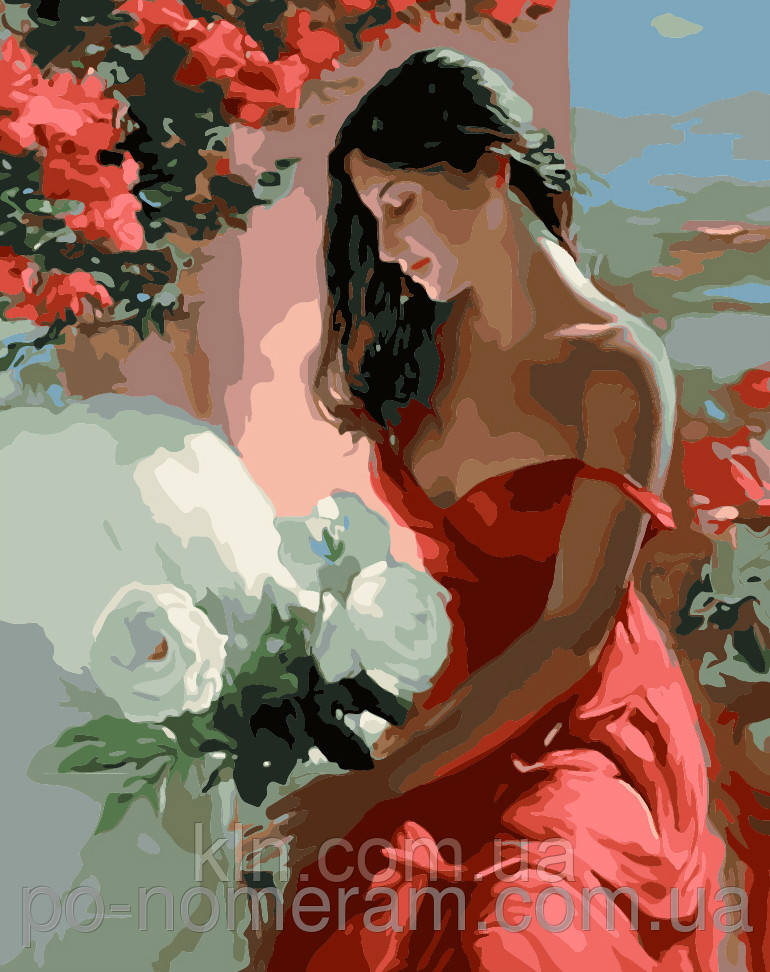 Картина за номерами Menglei Дівчина з білими квітами MG1085 40 х 50 см