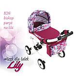Кукольная коляска LILY TM Adbor с сумкой в комплекте (К22, розовый светлый, цветы новые на малиновом), фото 5