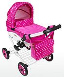 Кукольная коляска LILY TM Adbor с сумкой в комплекте (К22, розовый светлый, цветы новые на малиновом), фото 2