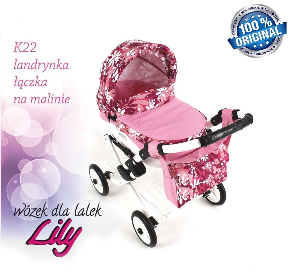 Кукольная коляска LILY TM Adbor с сумкой в комплекте (К22, розовый светлый, цветы новые на малиновом)