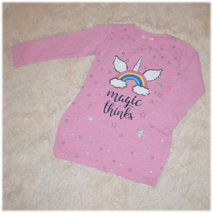 Платье-туника розового цвета с Единорогом на девочку BREEZE (Турция) размер 104 110 116 122 128 134