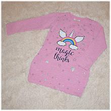Платье-туника розового цвета с Единорогом на девочку BREEZE (Турция) размер 110