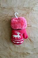 Варежки для девочки розовые с Оленем