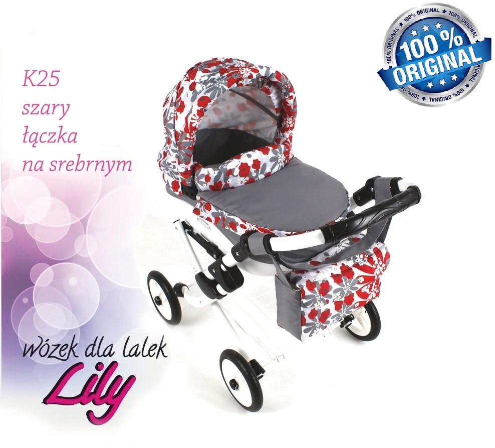 Кукольная коляска LILY TM Adbor с сумкой в комплекте (К25, серый, цветы новые на сером)