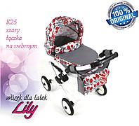 Кукольная коляска LILY TM Adbor с сумкой в комплекте (К25, серый, цветы новые на сером), фото 1
