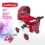 Кукольная коляска LILY TM Adbor с сумкой в комплекте (К17, красный, цветы маленькие на красном), фото 8