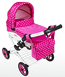 Кукольная коляска LILY TM Adbor с сумкой в комплекте (К17, красный, цветы маленькие на красном), фото 2