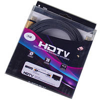 "Шнур HDMI (штекер-штекер), v.2.0, ""позолоченный"", диам.-7,3мм, сетка, в коробке, 3м, Tcom"