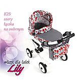 Лялькова коляска LILY TM Adbor з сумкою в комплекті (К20, рожевий, квіти на малиновому), фото 4