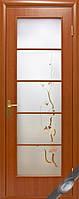 Дверь межкомнатная  Виктория экошпон венге 3д, дуб жемчужный, кедр, сандал, ясень ,стекло с рисунком