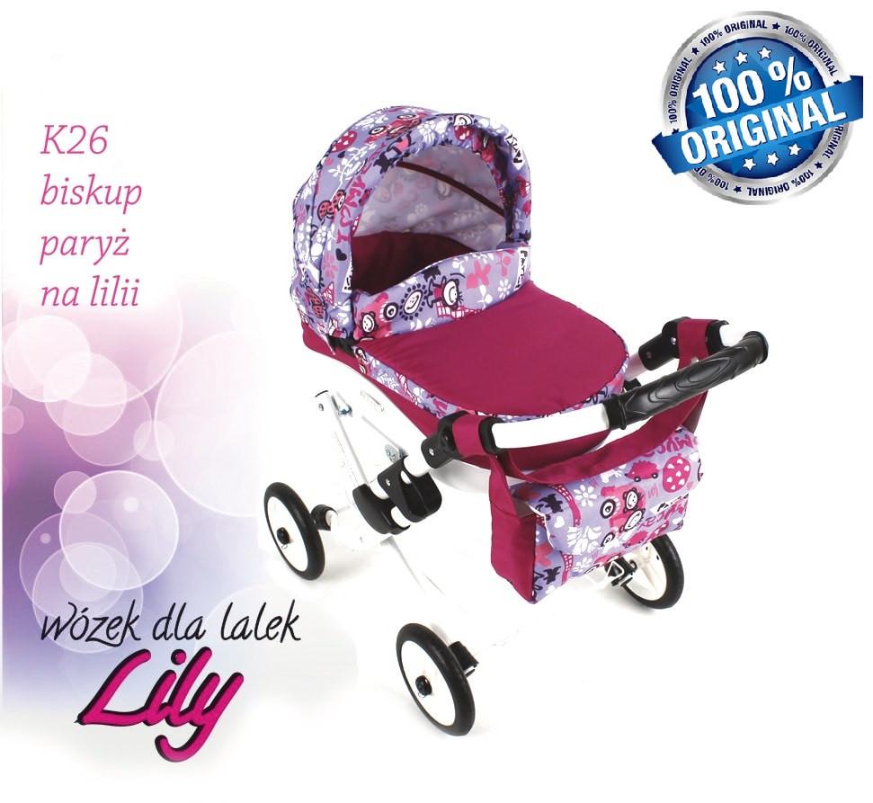 Кукольная коляска LILY TM Adbor с сумкой в комплекте (К26, малиновый, ералаш на сером)