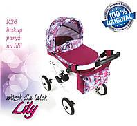 Кукольная коляска LILY TM Adbor с сумкой в комплекте (К26, малиновый, ералаш на сером), фото 1