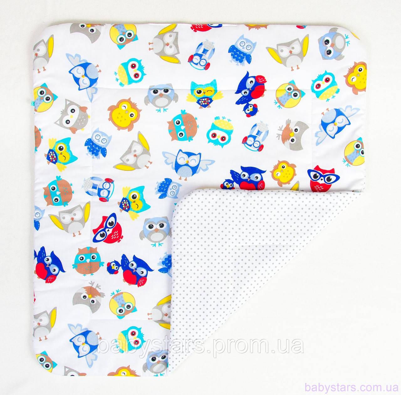 """Детское одеяло на выписку 80х85 см, """"Совы в наушниках"""""""
