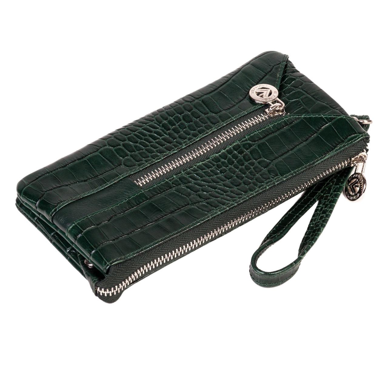 Мужской клатч Eminsa 2123-4-16 с отделением для ключей кожаный зелёный