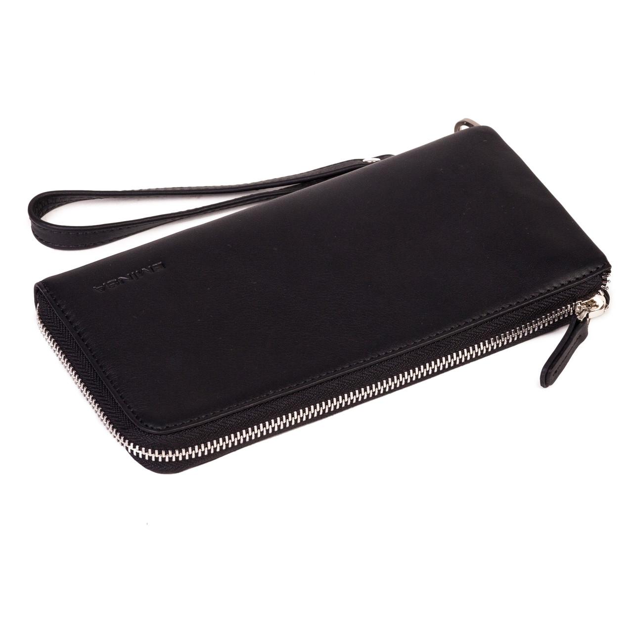 Клатч чоловічий гаманець Eminsa 2104-3-1 шкіряний чорний