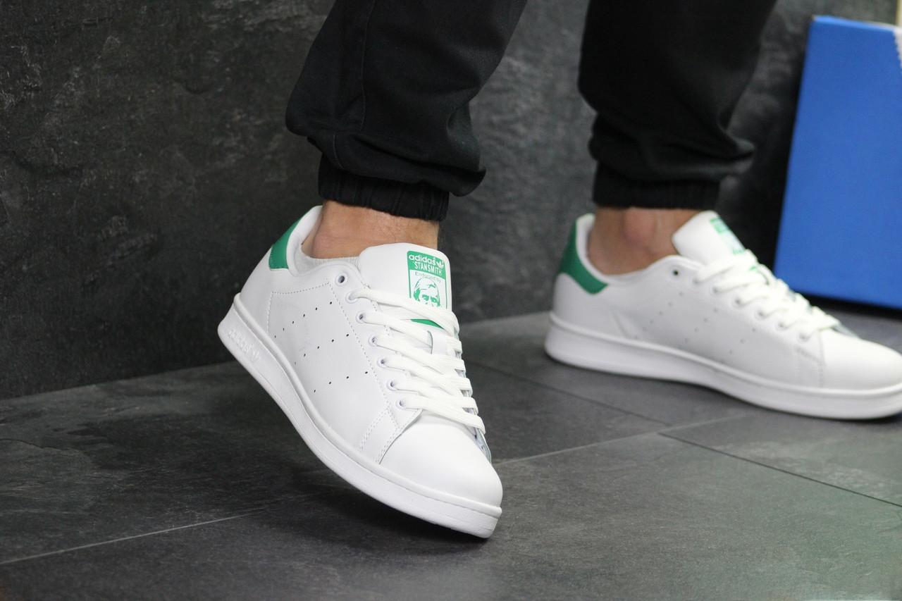 Кеды  мужские Adidas Stan Smith  кожаные стильные качественные (белые с зеленым задником), ТОП-реплика