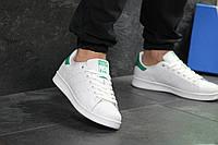 Кеды  мужские Adidas Stan Smith  кожаные стильные качественные (белые с зеленым задником), ТОП-реплика, фото 1