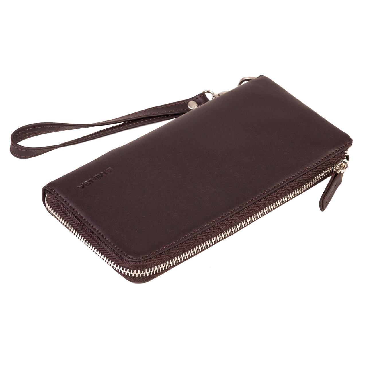 Мужской кошелек клатч Eminsa 2104-3-3 кожаный темно-коричневый