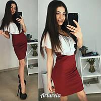 Платье с воланом, бордо+белый, фото 1
