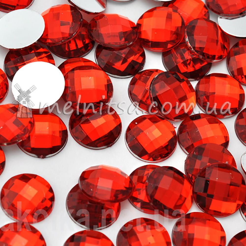 Камень клеевой круглый, 16 мм, красный (10 шт)