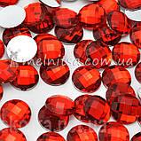 Камень клеевой круглый, 14 мм, красный (10 шт), фото 2