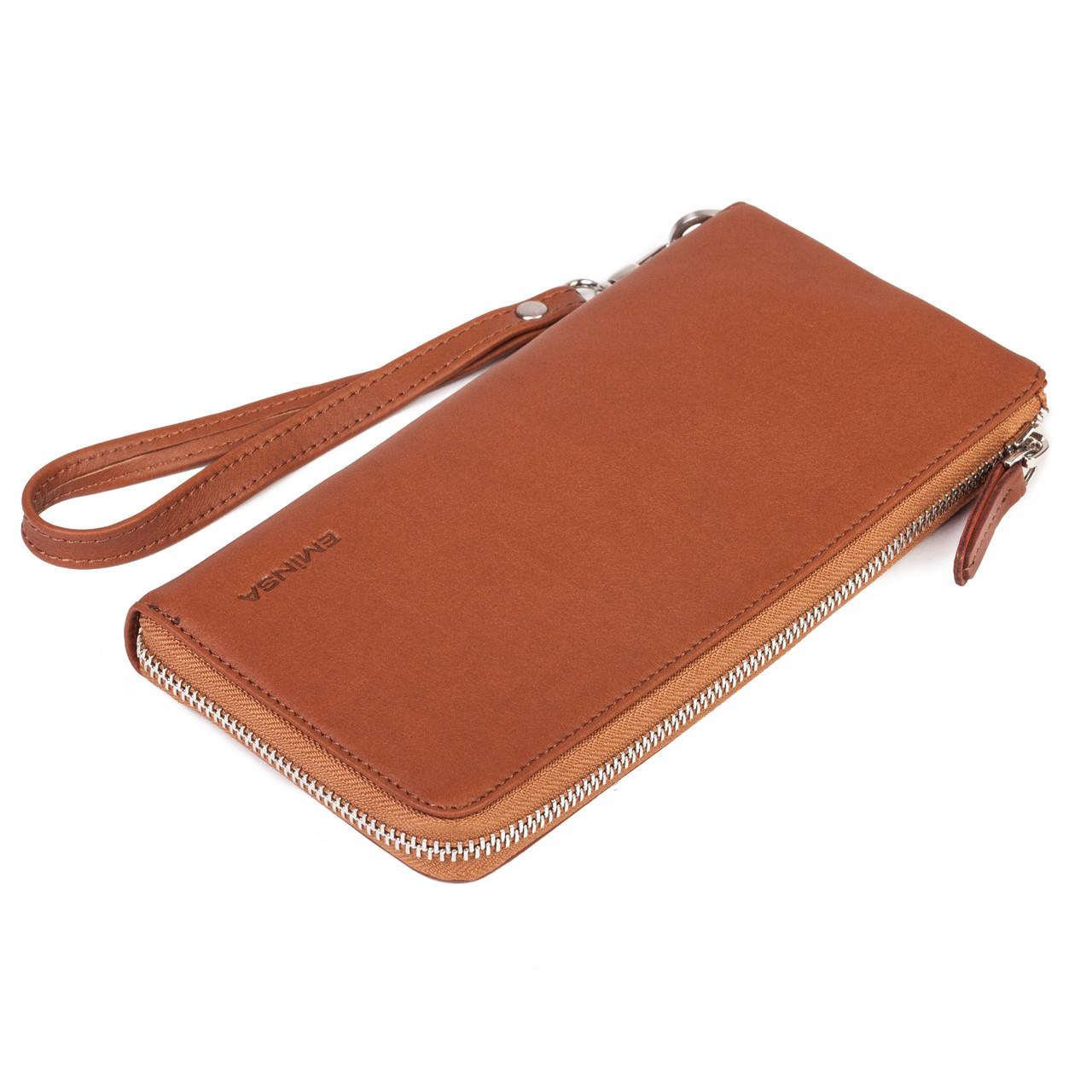 Мужской кошелек клатчEminsa 2104-3-2 кожаныйкоричневый