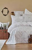Набор постельное белье с покрывалом + плед Karaca Home Sonora gold 2019-1 золотой евро размера