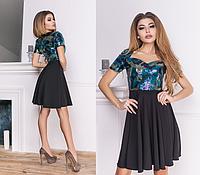 c9a45485c8f Женское расклешенное платье с лифом из ткани с пайетками .Размеры  42-44