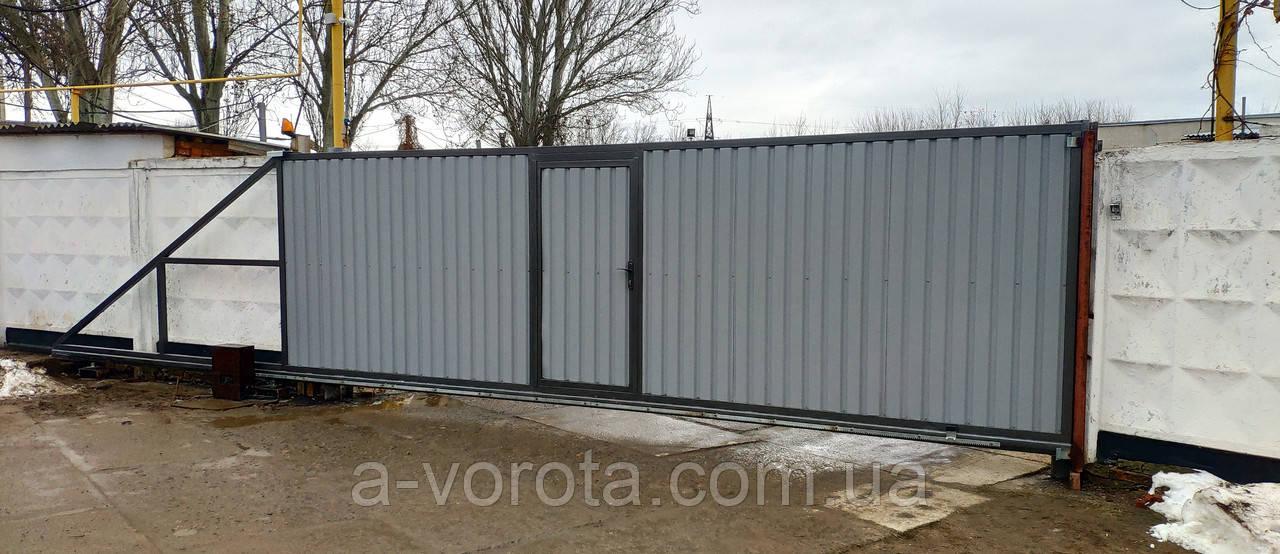 Відкатні промислові ворота з хвірткою профлист 6500×2350мм