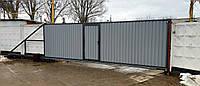 Откатные промышленные ворота с калиткой профлист 6500×2350мм