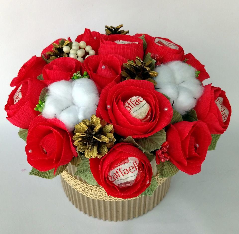 Смачний букет з цукерок в подарунок для подруги, мамі, вчительці, дружині, коханій