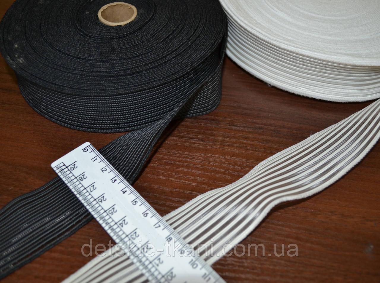 Резинка жилковая на основе текстильной лески, белая, ширина 30 мм.