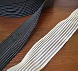 Резинка жилковая на основе текстильной лески, белая, ширина 30 мм., фото 2