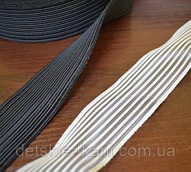 Резинка на основе текстильной лески, чёрная, ширина 4 см.