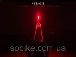 Влагозащищенный задний LED вело-габарит / COB диоды / 2 x AA / диоды: красные + синие / белые