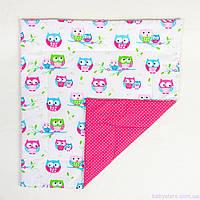 """Детское одеяло в кроватку для новорожденных 80х85 см, """"Яркие совушки"""" цвет розовый"""