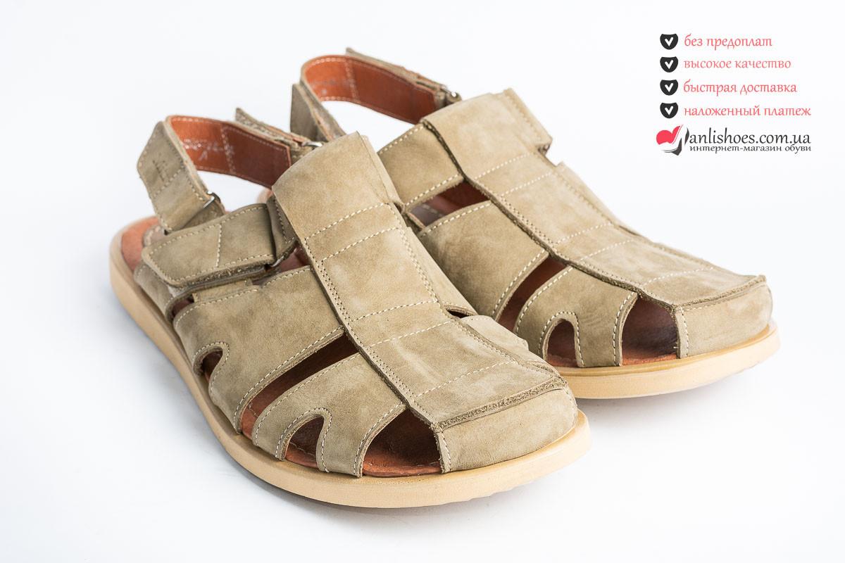eae8758896bb 🌴Сандалии мужские кожаные, светлая оливка цвет. Обувь мужская сандалии на  липучках светлая оливка