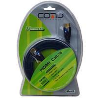 """Шнур HDMI (штекер-штекер), v.1.3, """"позолоченный"""", диам.-7,3мм, чёрный, в блистере, 1,5м, COMP"""