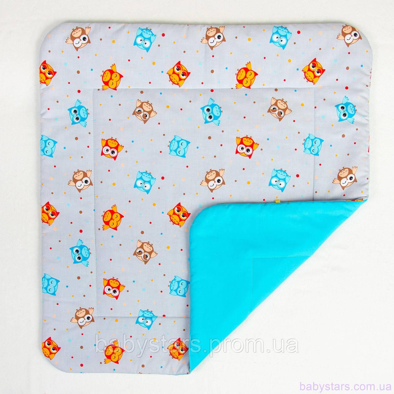 """Одеяло в детскую кровать 80х85 см, """"Забавные совы на бирюзе"""""""
