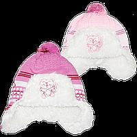 Детская вязаная шапочка с завязками на подкладке из овчины, ТМ Ромашка, р. 42-44