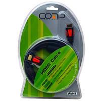 """Шнур HDMI (штекер-штекер), v.1.3B, """"позолоченный"""", с фильтрами, диам.-7,0мм, в блистере, 2м, COMP"""